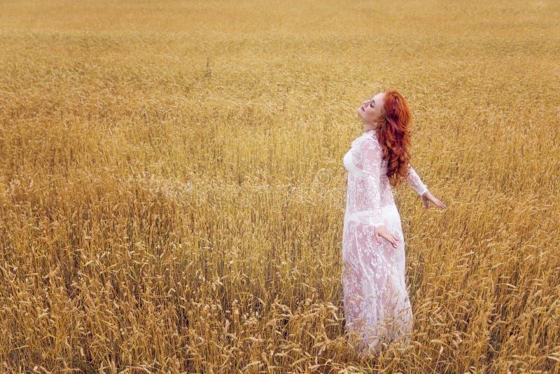 Een vrouw met rood haar in een witte kleding die zich op een tarwegebied bevinden stock afbeelding