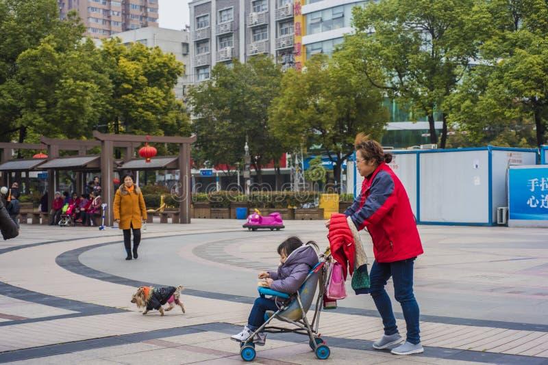 Een vrouw in rood duwde een wandelwagen voorbij een hond en overgegaan door zheng die hij heeft geparkeerd stock afbeelding