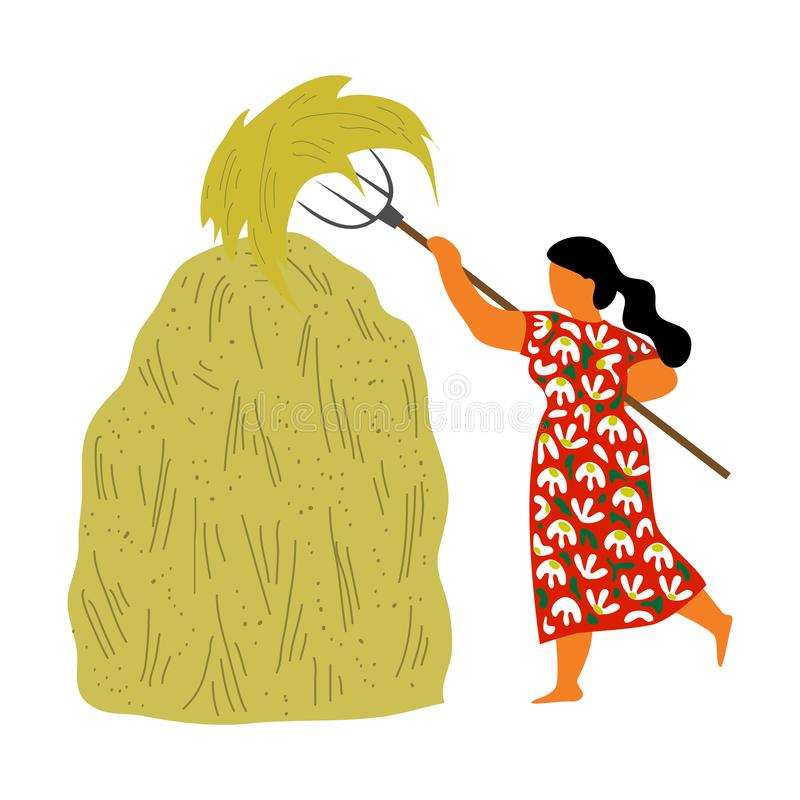 Een vrouw van het dorp stapelt een vork in een hooistapel op op een witte achtergrond Leuke vlak geïsoleerde vector stock illustratie