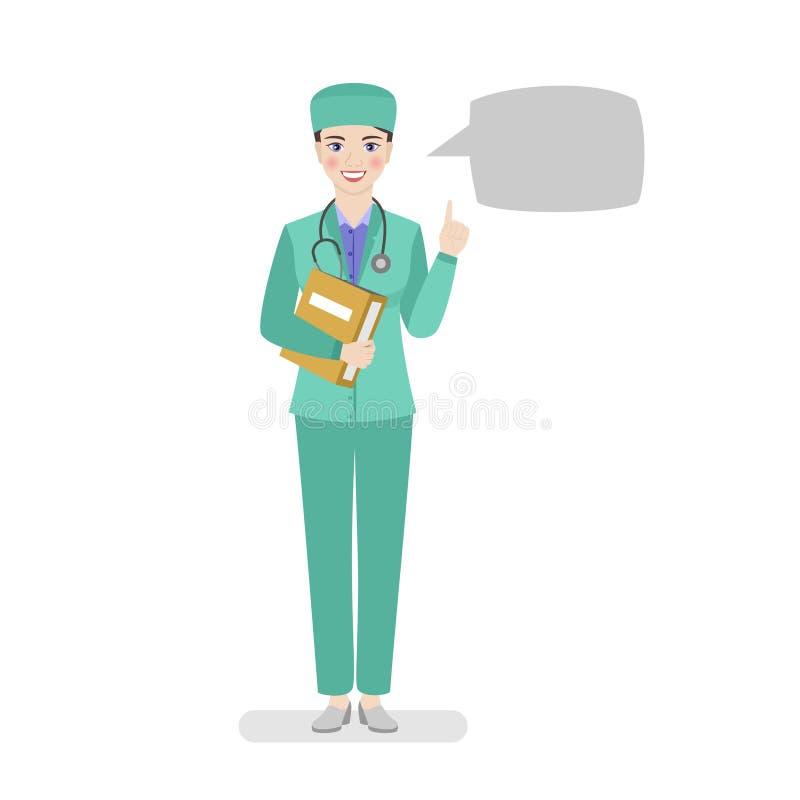 Een vrouwelijke arts in groene workwear bevindt zich met een boekje in haar handen die aanbevelingen geven vector illustratie