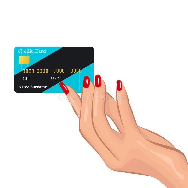 Een vrouwelijke bevallige hand houdt een creditcard stock illustratie