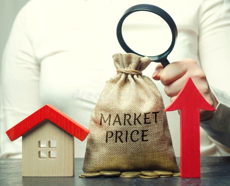 Een vrouwelijke hand houdt een vergrootglas over een geldzak met de woordmarktprijs, omhoog pijl en een huis Het concept van stock afbeeldingen