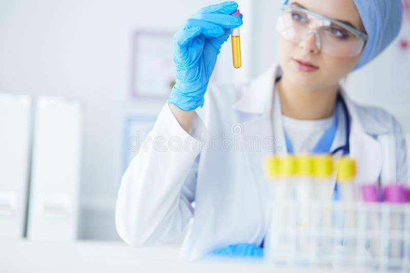 Een vrouwelijke medische of wetenschappelijke onderzoeker of vrouwenarts die een reageerbuis duidelijke oplossing in een laborato stock foto's