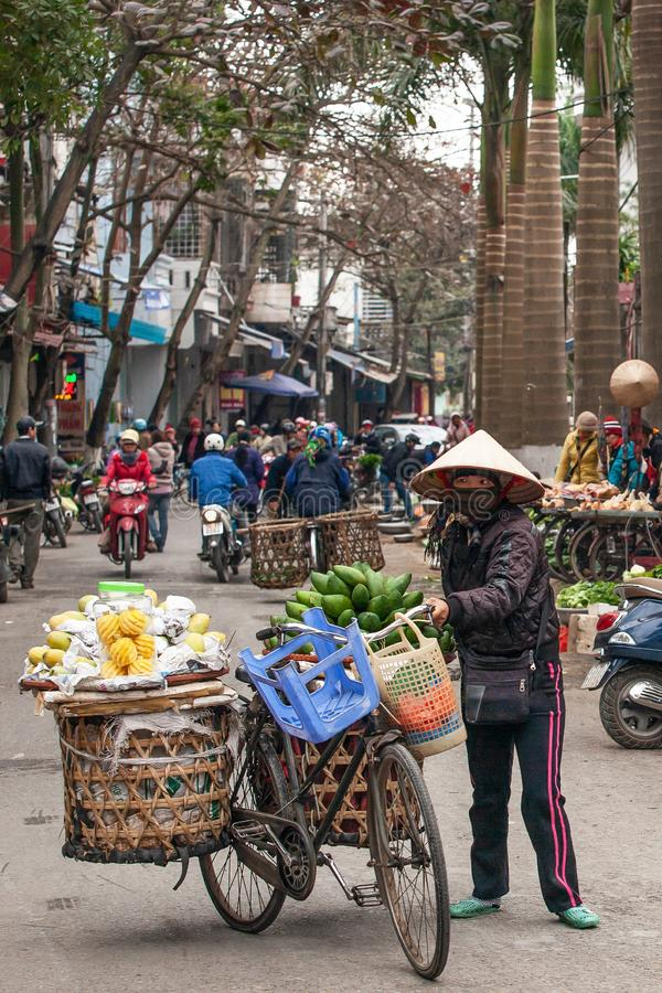 Een vrouwelijke Vietnamese straatventer met oude fiets en vruchten op de bamboemanden op Lao Kai-straat, grens Vietnam-China royalty-vrije stock afbeelding