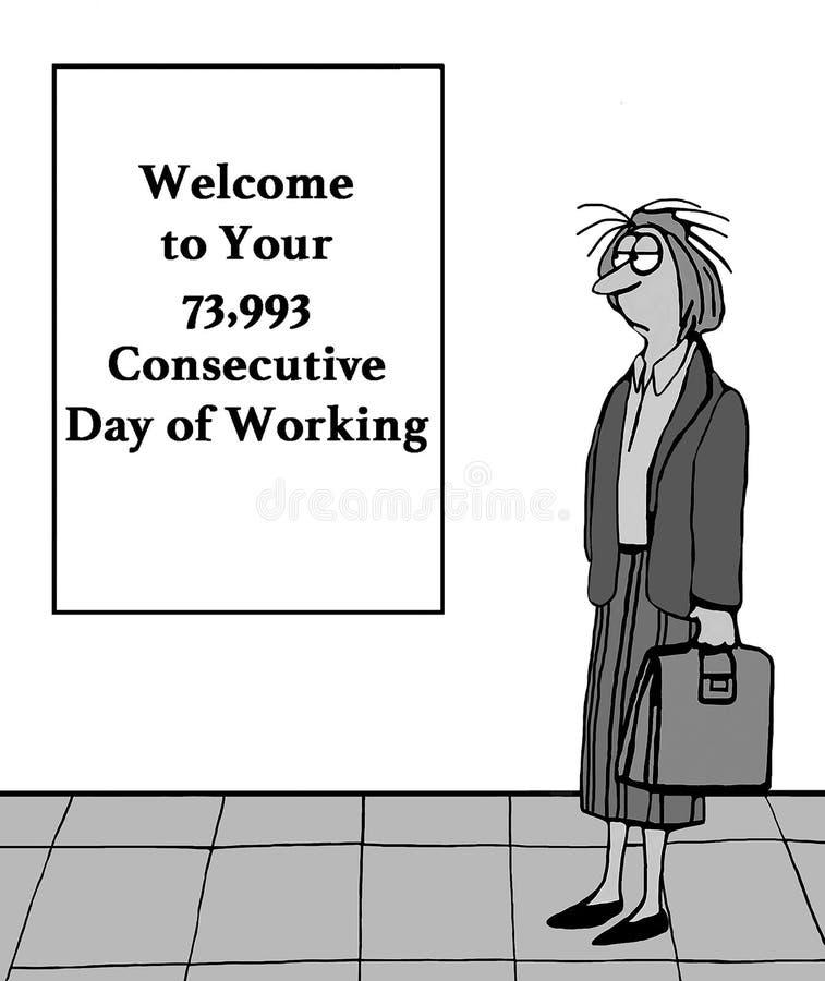 Een vrouwenstafmedewerker werkt teveel vector illustratie