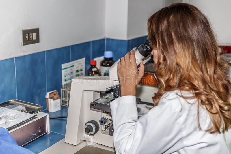 Een vrouwenwetenschapper analyseert zorgvuldig steekproeven met een microscoop, terwijl in een farmaceutisch laboratorium stock fotografie