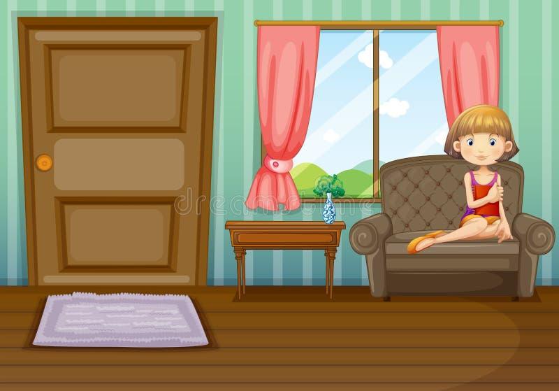 Een vrouwenzitting binnen het huis stock illustratie
