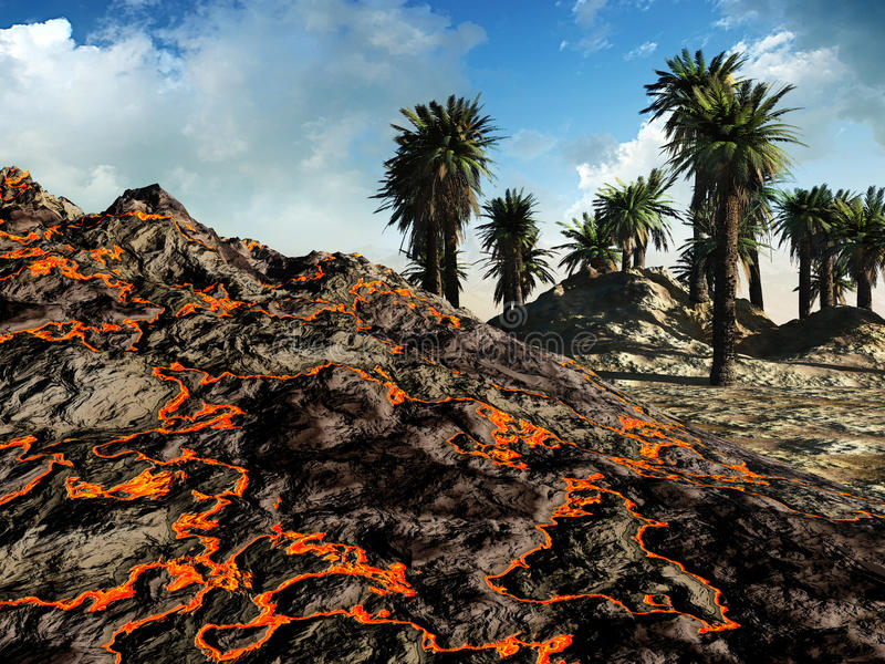 Een vulkanische uitbarsting vector illustratie