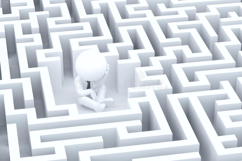 Een wanhopige zakenman in een labyrint stock illustratie