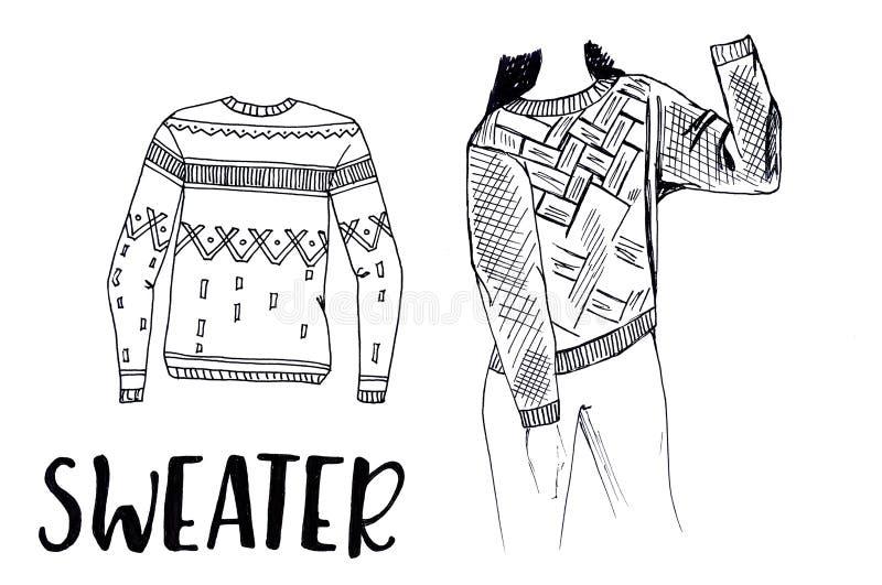 Een warme sweater Sweatshirt met ornament Comfortabele en warme kleren De reeks van de herfst Vector elementen voor ontwerp vector illustratie