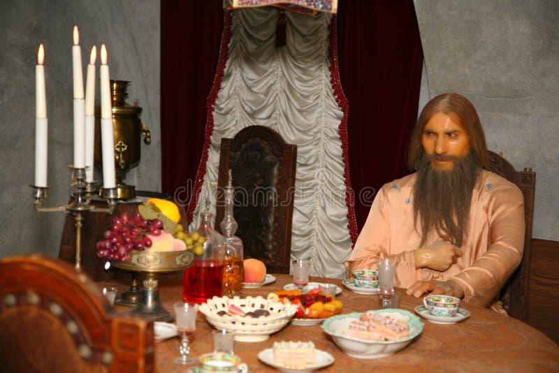 Een wascijfer van de oude mens Grigory Rasputin De moord van Rasputin bij het Yusupov-Paleis - wederopbouw van de wascijfers stock fotografie