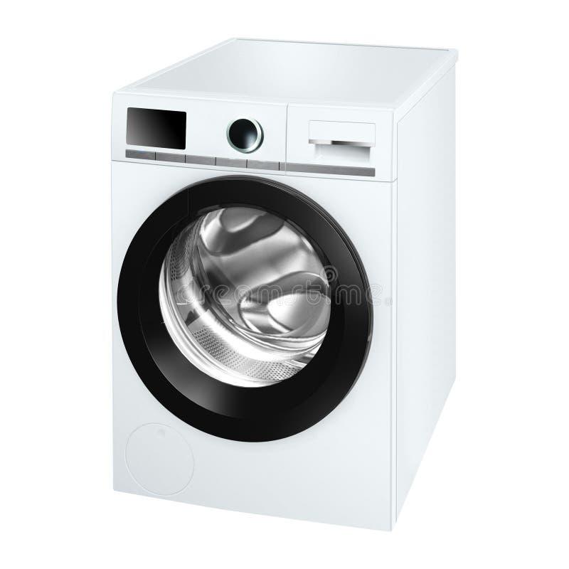 Een wasmachine op wit wordt geïsoleerd dat royalty-vrije stock afbeelding