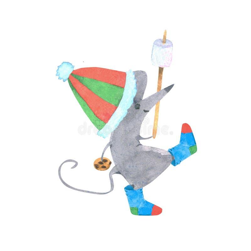 Een waterkleurige illustratie van een muis in een hoed en sokken bevatten koekjes en marshmallows op een stok, het symbool van de stock illustratie
