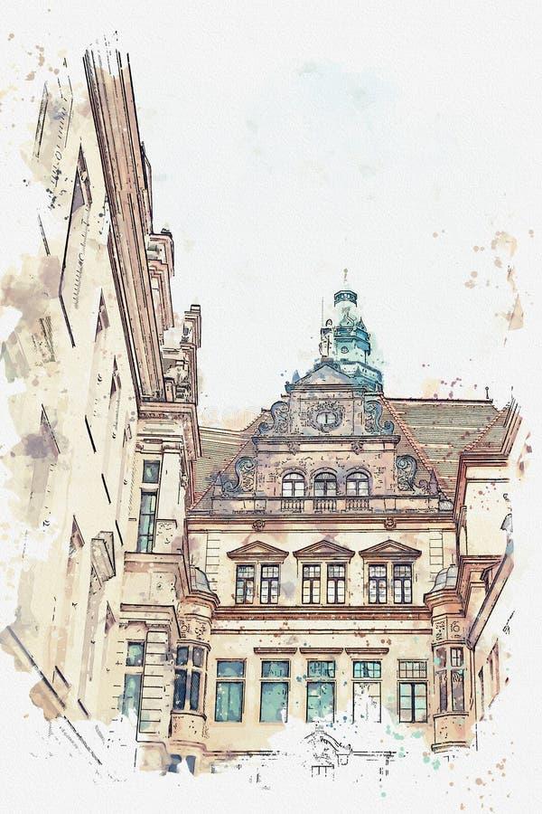Een een waterverfschets of illustratie Een deel van oude architecturale complex riep Royal Palace Dresden, Duitsland vector illustratie