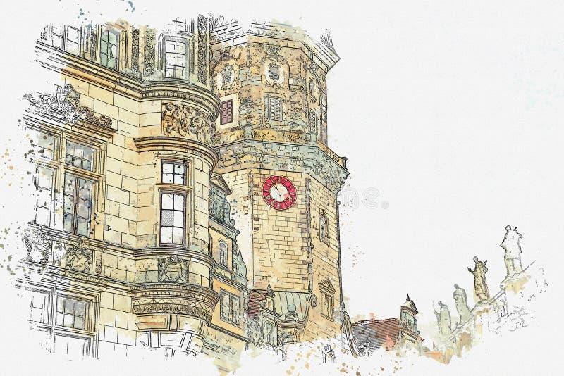 Een een waterverfschets of illustratie Een deel van oude architecturale complex riep Royal Palace Dresden, Duitsland royalty-vrije illustratie