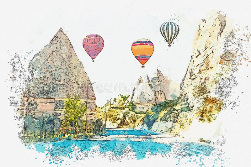 Een een waterverfschets of illustratie Hete luchtballon in de hemel in Kapadokia in Turkije royalty-vrije illustratie