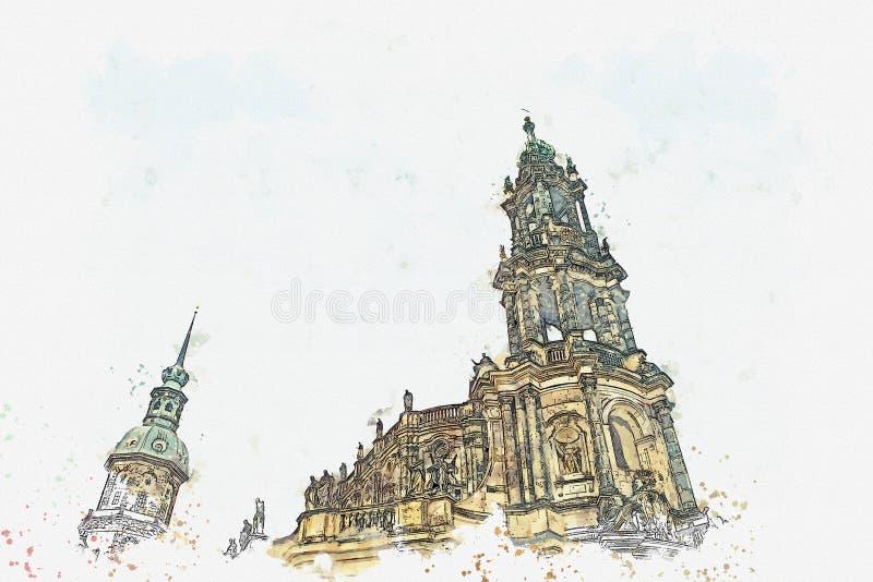 Een een waterverfschets of illustratie Hof Katholieke Kathedraal van Dresden in het stadsvierkant duitsland stock illustratie