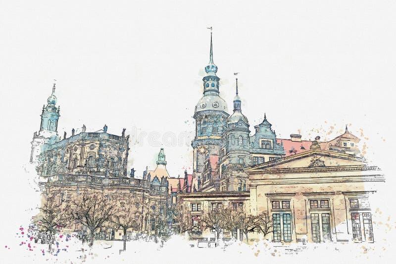 Een een waterverfschets of illustratie Oude architecturale complex riep Royal Palace Dresden, Duitsland stock illustratie