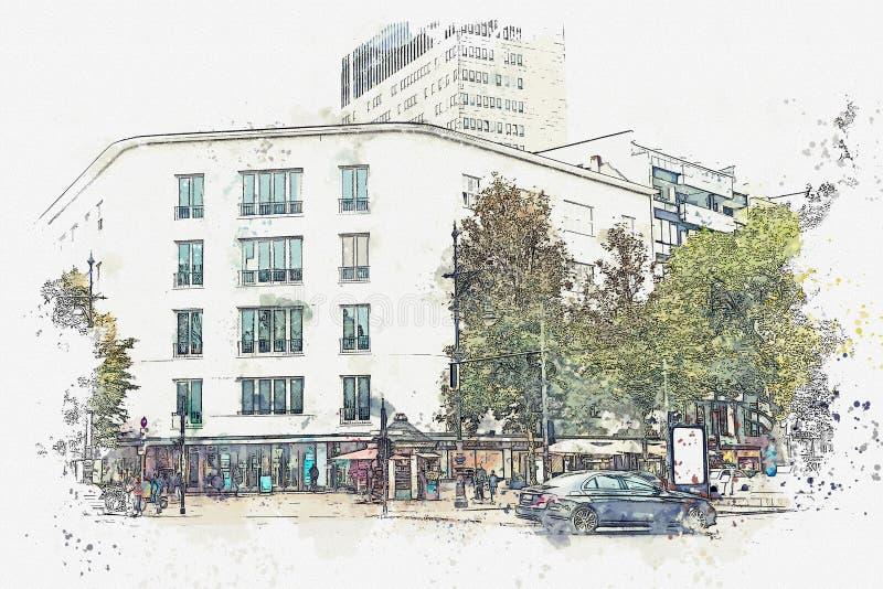 Een waterverfschets of een illustratie Straat in Berlijn stock illustratie