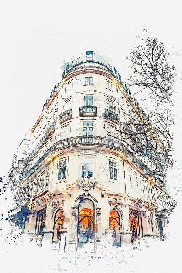 Een waterverfschets of een illustratie Traditionele Europese architectuur De hoek van een typisch gebouw in Porto binnen royalty-vrije illustratie