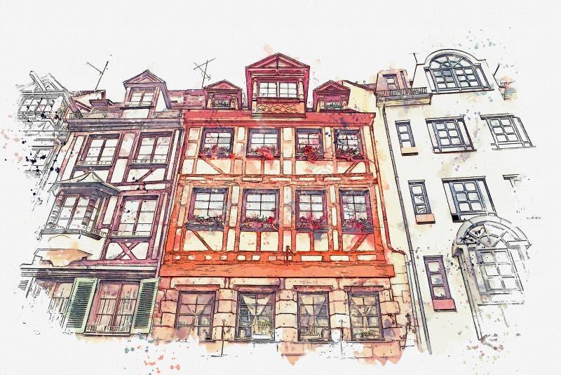 Een waterverfschets of een illustratie van traditionele Duitse architectuur in Nuremberg in Duitsland royalty-vrije illustratie