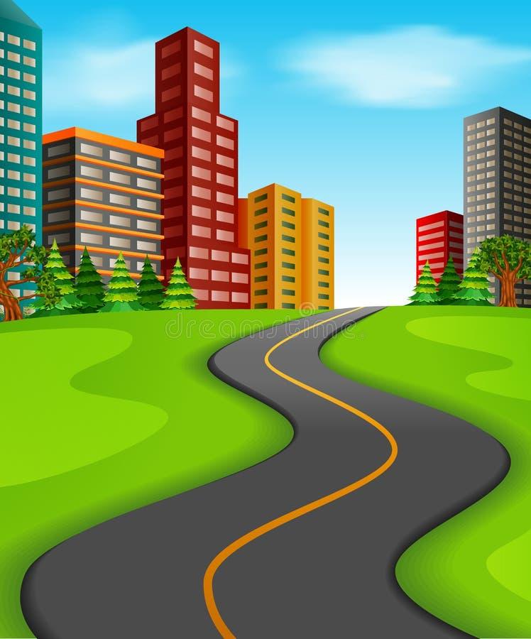 een weg aan de stad royalty-vrije illustratie