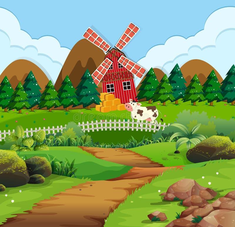 Een weg aan landelijk landbouwbedrijf royalty-vrije illustratie