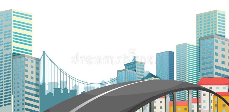 Een weg bij de stad vector illustratie