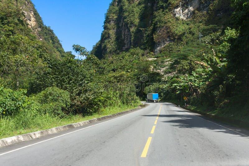 Een weg in de Peruviaanse wildernis stock afbeelding