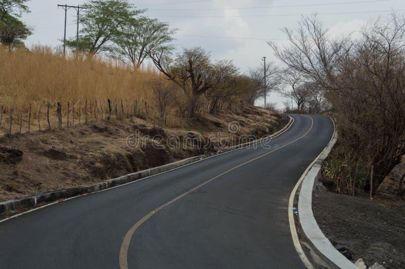 Een weg in perfecte voorwaarde die door heel wat droge vegetatie overgaan royalty-vrije stock afbeeldingen