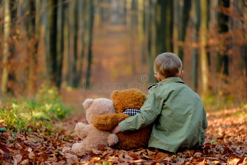 Een weinig het droevige jongen spelen in het de herfstpark stock fotografie