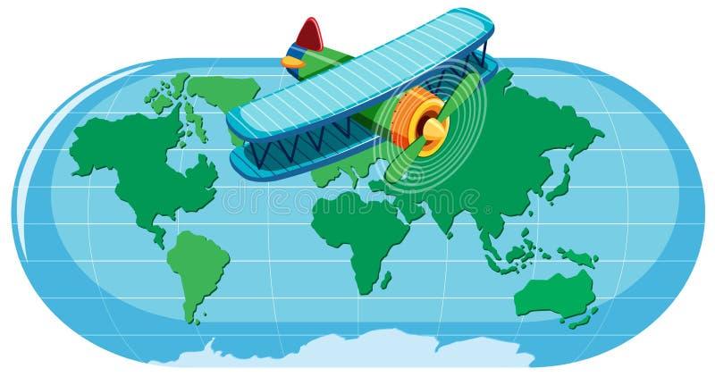 Een een Wereldkaart en Vliegtuig royalty-vrije illustratie