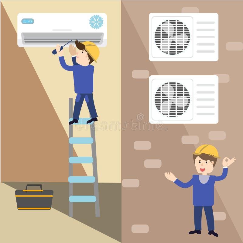 Een werken de vector vlakke beeldspecialisten met materiaal Installatie of reparatie van airconditioner vector illustratie