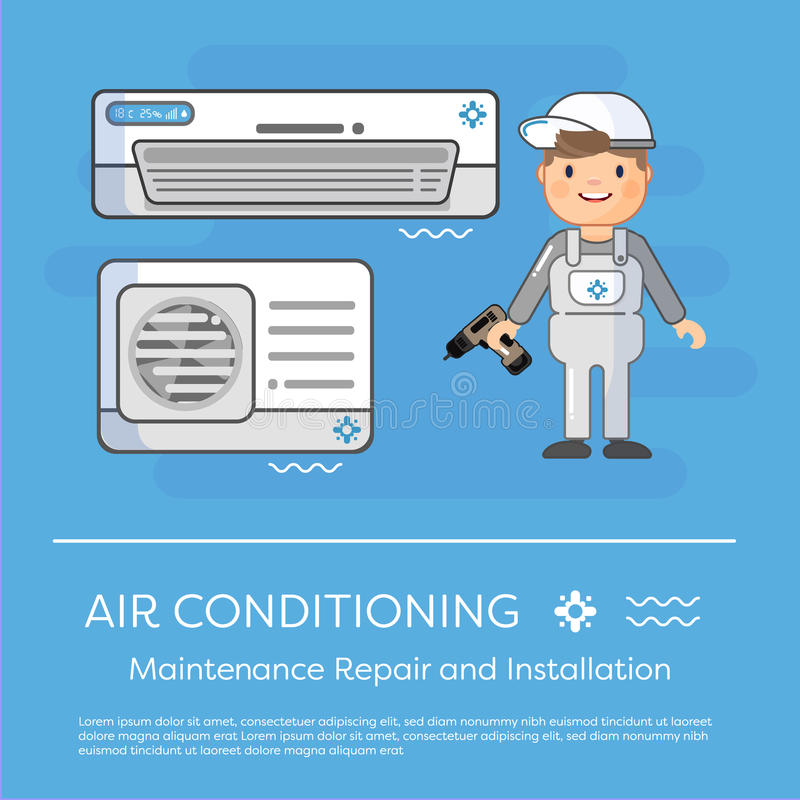 Een werken de vector vlakke beeldspecialisten met materiaal Installatie of reparatie van airconditioner stock illustratie
