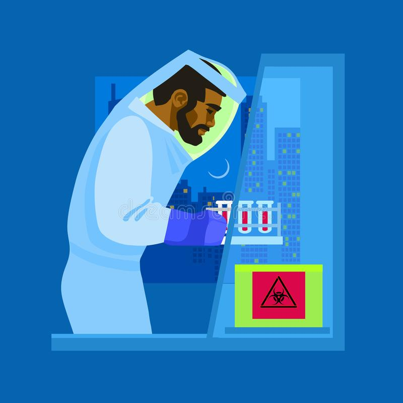Een wetenschapper in biologisch beschermend kostuum die met biogevaarlijke stoffen werken Vector vector illustratie