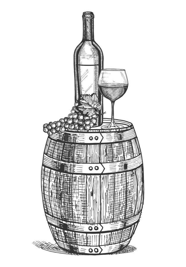 Een wijnstilleven vector illustratie