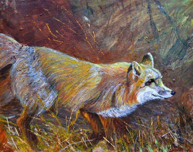 Een wilde vos die op gras wandelen stock afbeelding