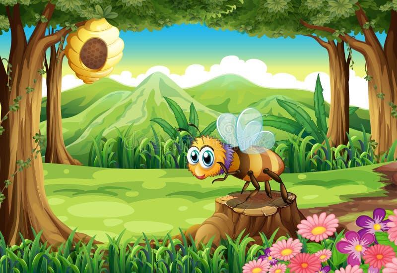 Een wildernis met een bij dichtbij de bijenkorf royalty-vrije illustratie