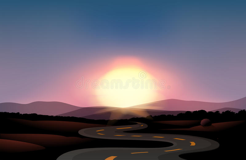 Een windende weg en de zonsondergang vector illustratie