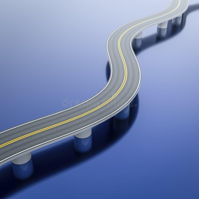 een windende wegbrug over het overzees stock illustratie