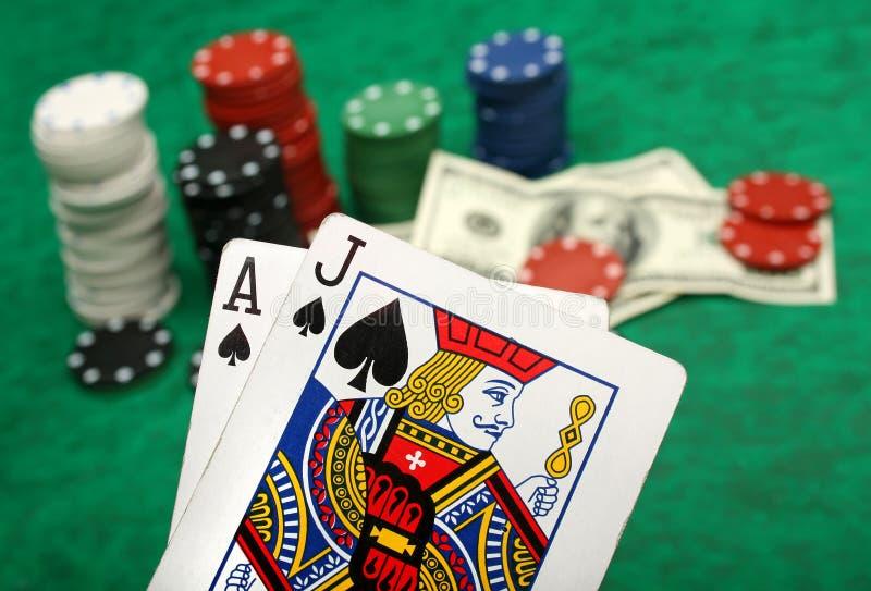 Een winnende blackjackhand stock afbeelding