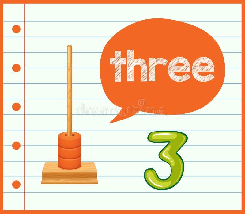 Een wiskunde het leren kaart nummer drie vector illustratie