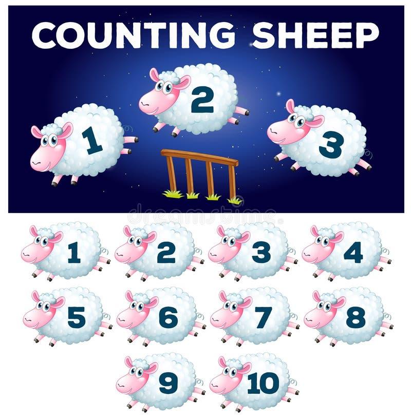 Een wiskunde tellend schaap stock illustratie