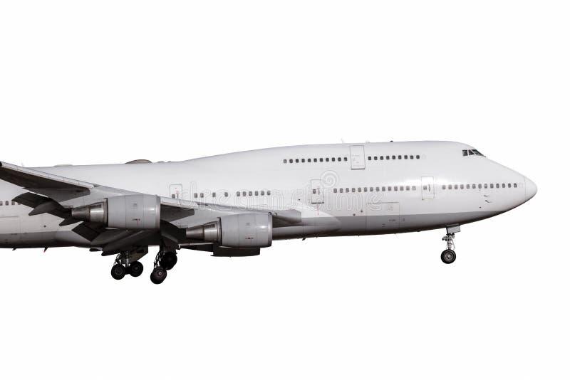 Een wit groot straalmotorvliegtuig stock afbeeldingen