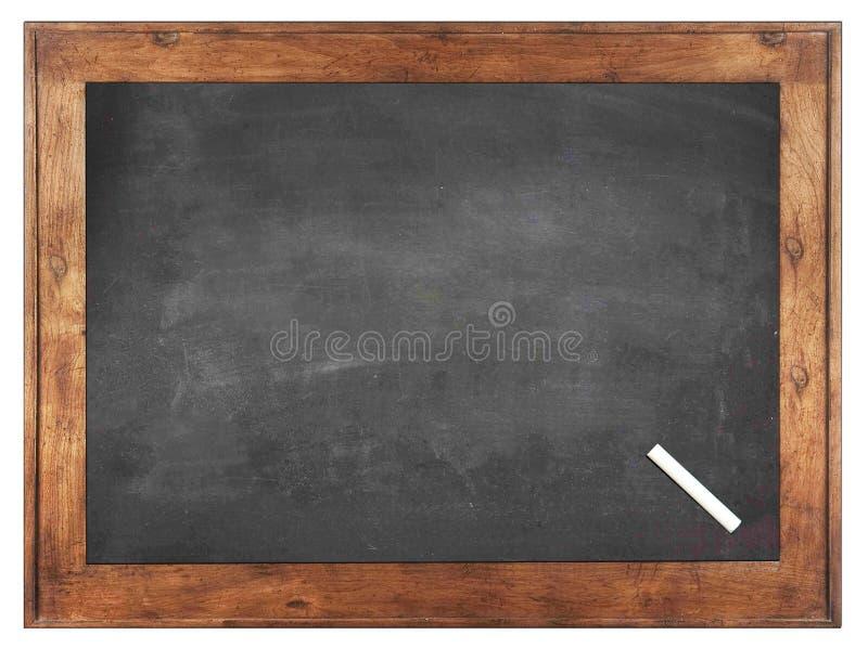 Een wit krijt op Lege schoolbordachtergrond/Spatie stock foto