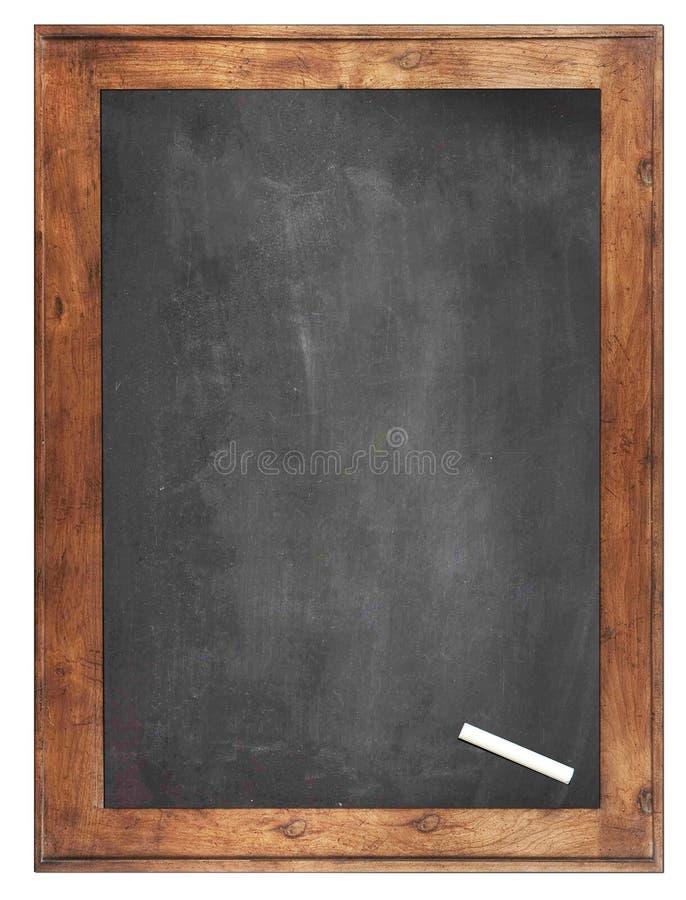 Een wit krijt op Lege schoolbordachtergrond/Spatie stock afbeeldingen