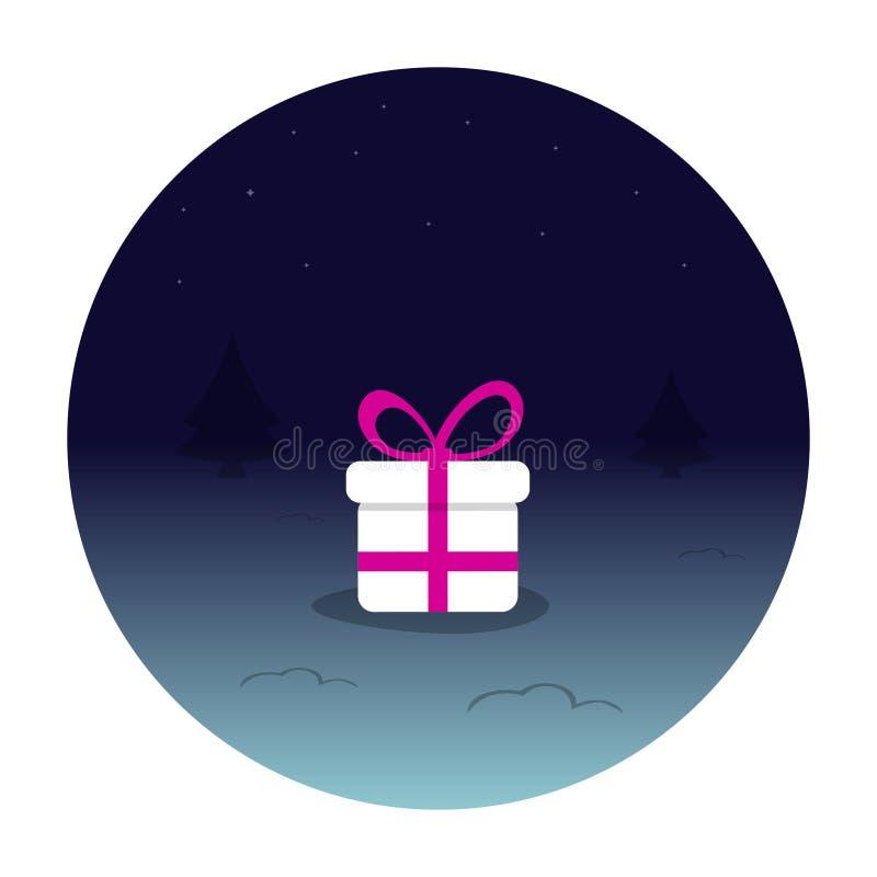 Een witte doos van de Nieuwjaar` s gift met een roze lint in een donkerblauwe die cirkel, op een witte achtergrond wordt geïsolee royalty-vrije illustratie