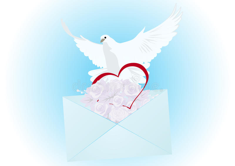 Een witte duif met een brief royalty-vrije illustratie