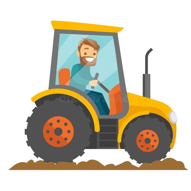Een witte gelukkige landbouwer in tractor op een landelijk landbouwbedrijfgebied vector illustratie
