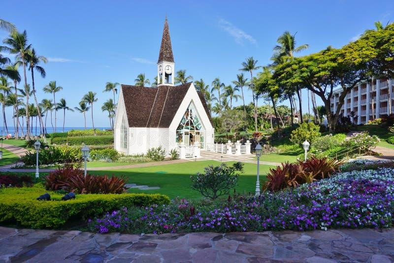 Een witte huwelijkskapel in Wailea, Maui, Hawaï stock fotografie